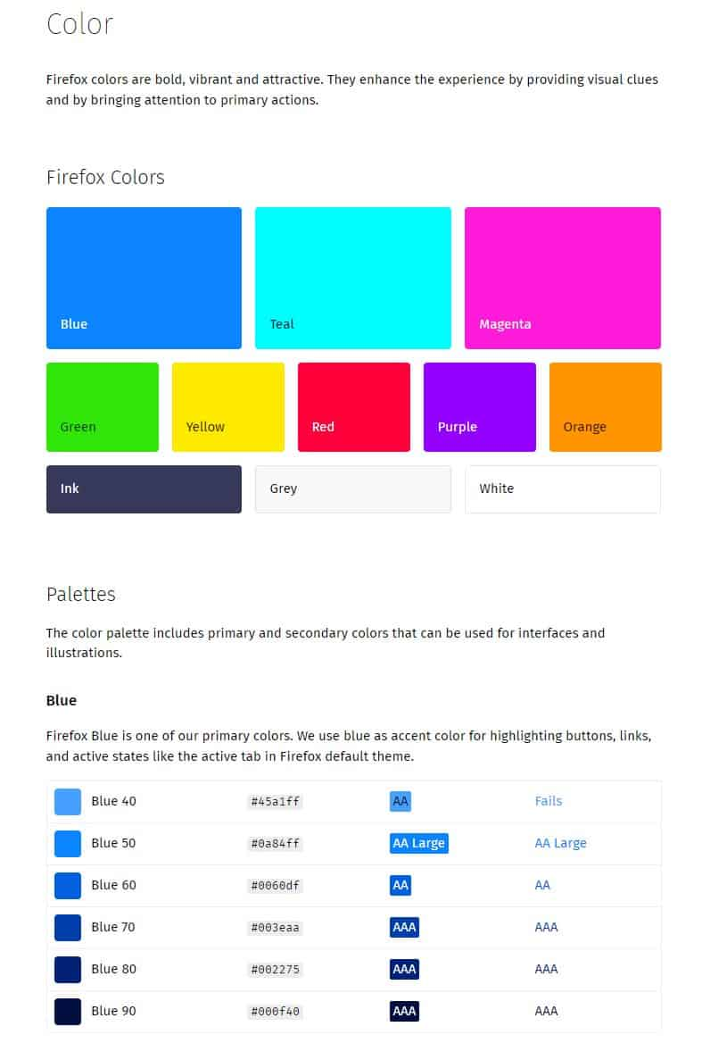 Photon Design System - Colors and Visual for Mozilla Firefox