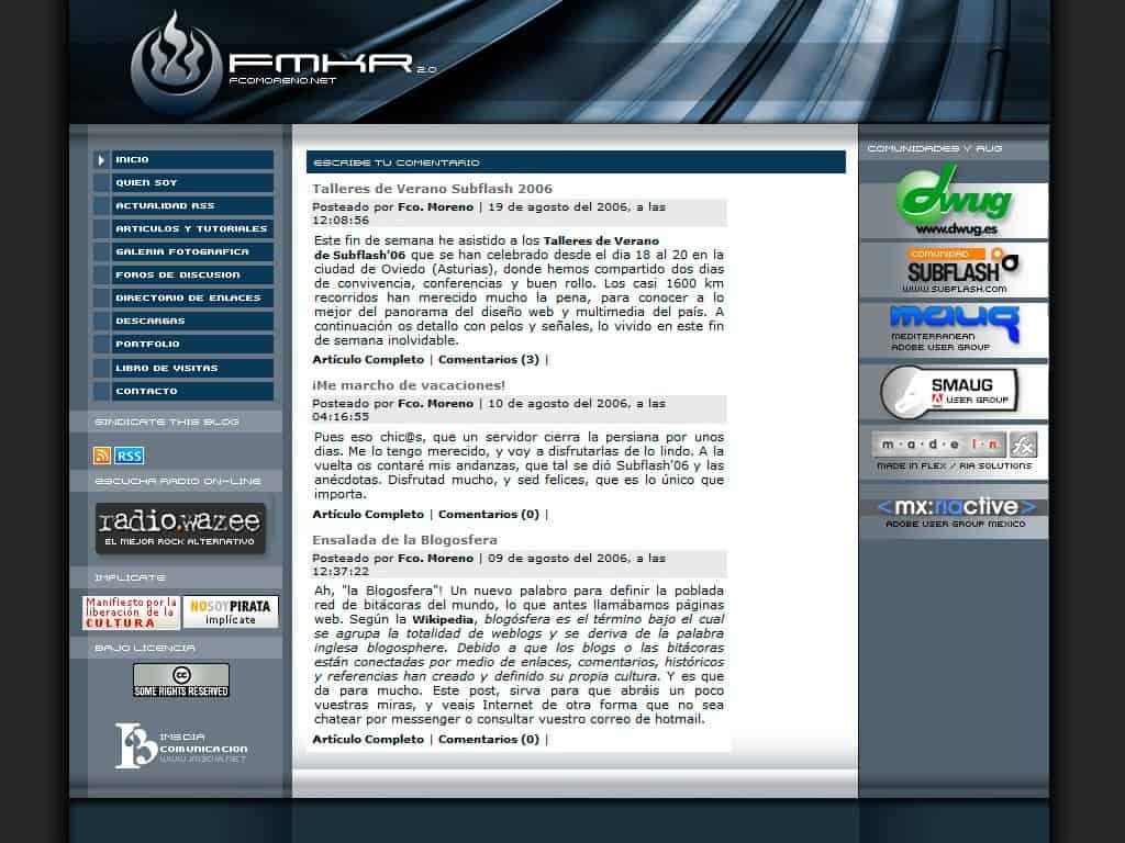 fcomoreno.net en 2006 - 2008